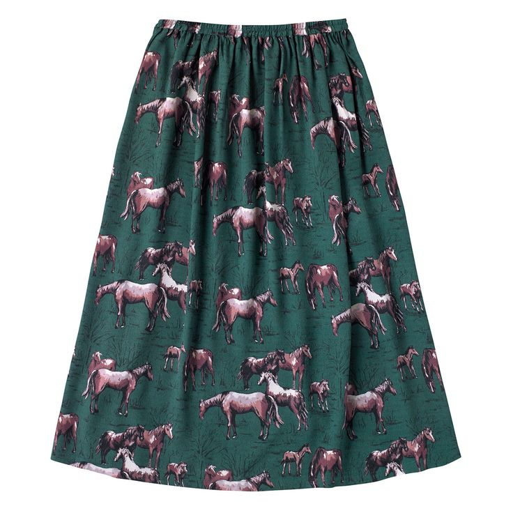 Wild Ponies Long Crepe Skirt | Cath Kidston |