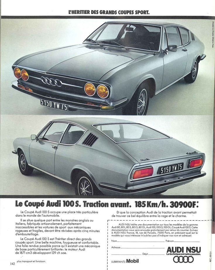 Coupé Audi 100S - Réalités, juin 1973