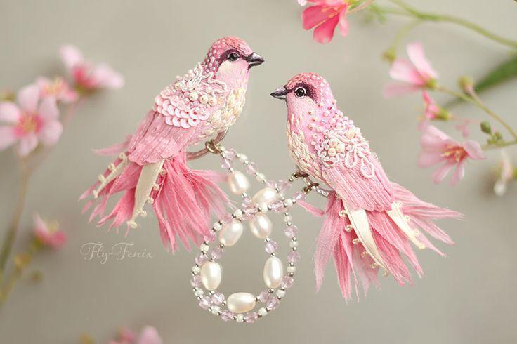 """Купить Двойная брошь """"Пташки Певчие"""". Свадебная коллекция. - свадебная коллекция, свадебное украшение, белое"""