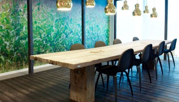 THORS Gaia  conference table with a rustic finish #sustainablefurniture #conferencetable #boardroomtable #officeinteriors