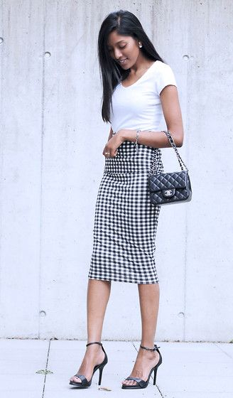 Steph MK - Asos Tee, Boohoo Pencil Skirt, Zara Sandals, Chanel Mini, Christian Dior Mise En Earrings - Gingham Girl