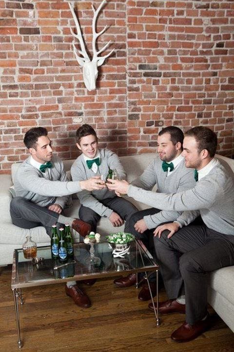 Bowties and sweaters for this trendy wedding.