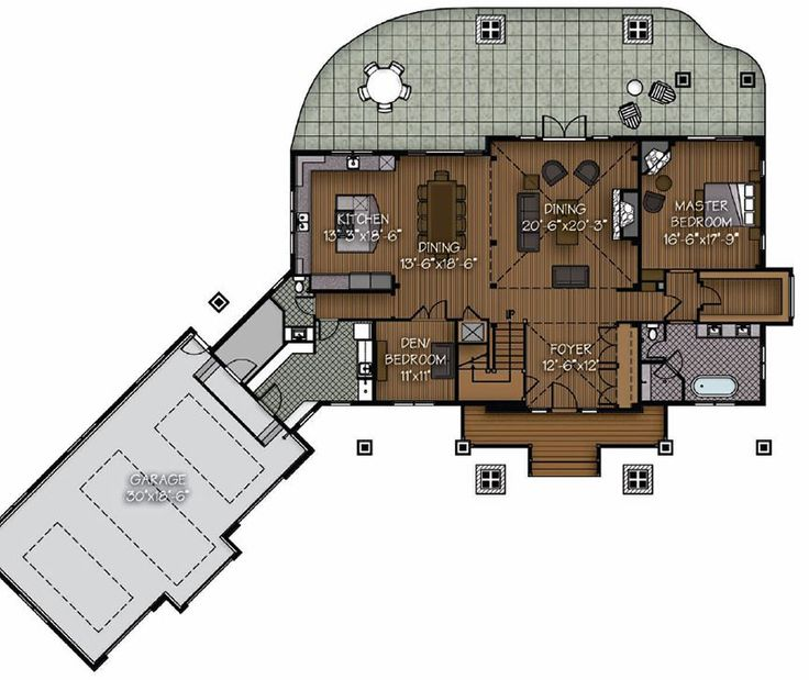 The Elk River Timber Home Floor Plan from Canadian Timberframes offers extra grand timber frame living space off a vaulted great room.