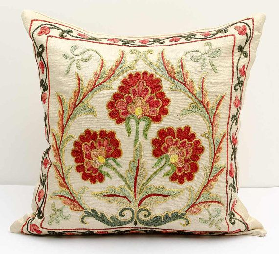 12x12 fully silk handmade embroidery suzani pillow by SilkWay