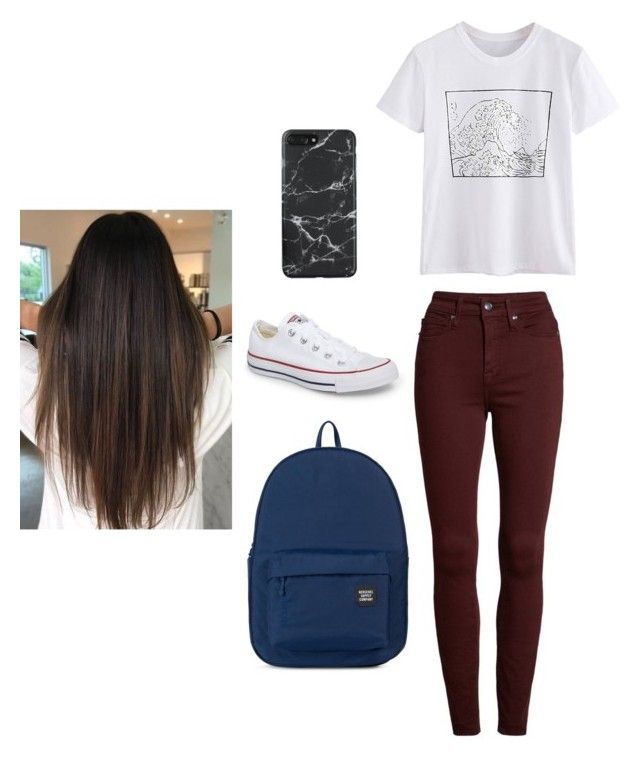 """Untitled #14"" by cass0698 on Polyvore featuring Good American, Converse and Herschel Supply Co."