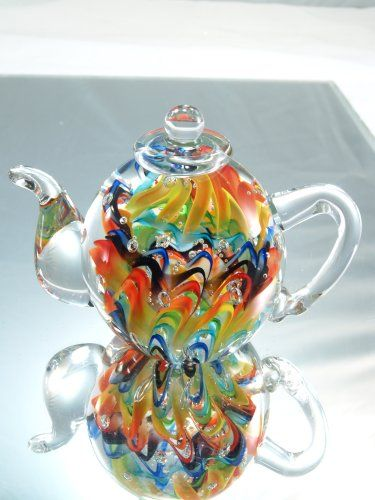 Oh my... what a beautiful teapot! Murano Design Hand Glass Rainbow Pattern Teapot Art Sculpture PP-206 / K-039°°