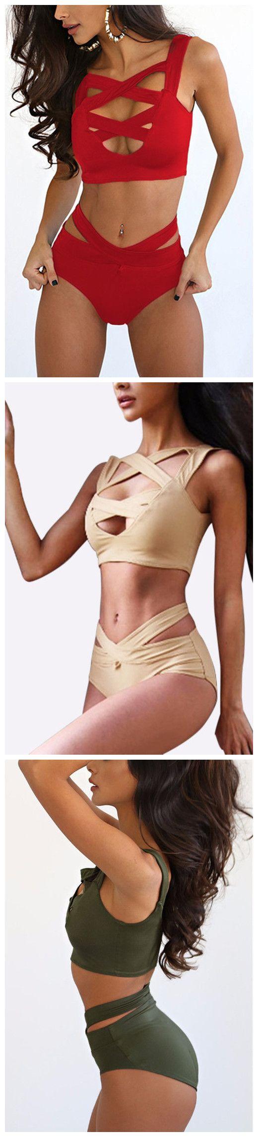 Cross Front Bodycon Bikini Swimwear