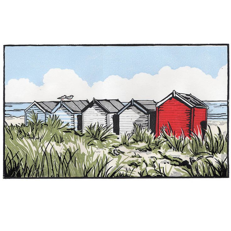 Hand Printed Suffolk Beach Huts Lino Print