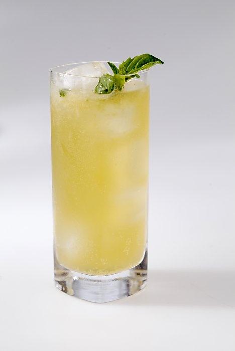 """""""Japanese Mule"""", using Yamazaki whiskey, ginger, basil, and bitters."""