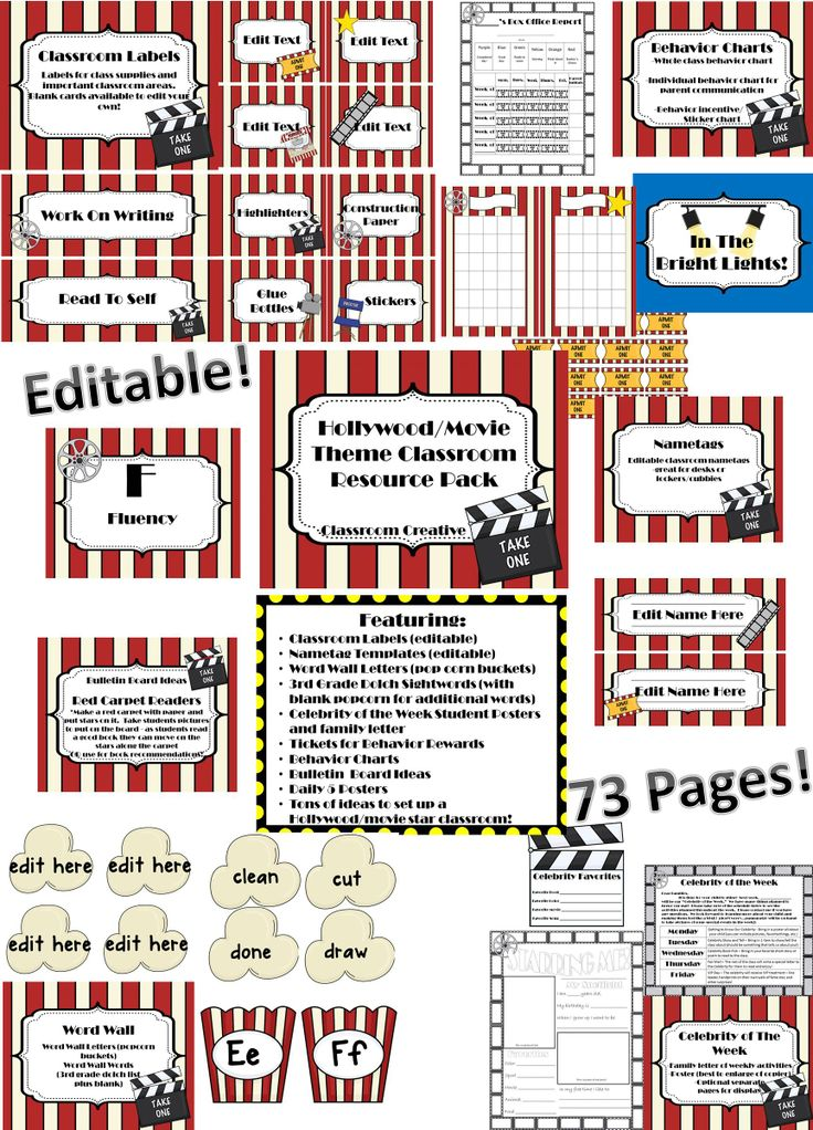 Everything you need for a Hollywood/Movie themed classroom. This pack includes 73 pages of editable decorations, ideas, printables.    Included: *Classroom Labels - for centers as well as for supplies *Nametags - Editable *Popcorn Word Wall - Popcorn bucket letters with popcorn shaped words *Celebrity of the Week - parent letter, student poster and larger display option *Tickets for behavior rewards *Behavior Charts  *Bulletin Board Ideas *Daily 5 CAFE posters
