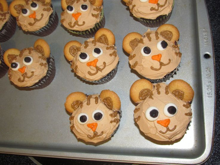 Daniel Tiger's Neighborhood Cupcakes - I made these for my son's birthday.  I used Wilton's Gel colors to tint the icing.  His ears are made from mini Nilla wafers.