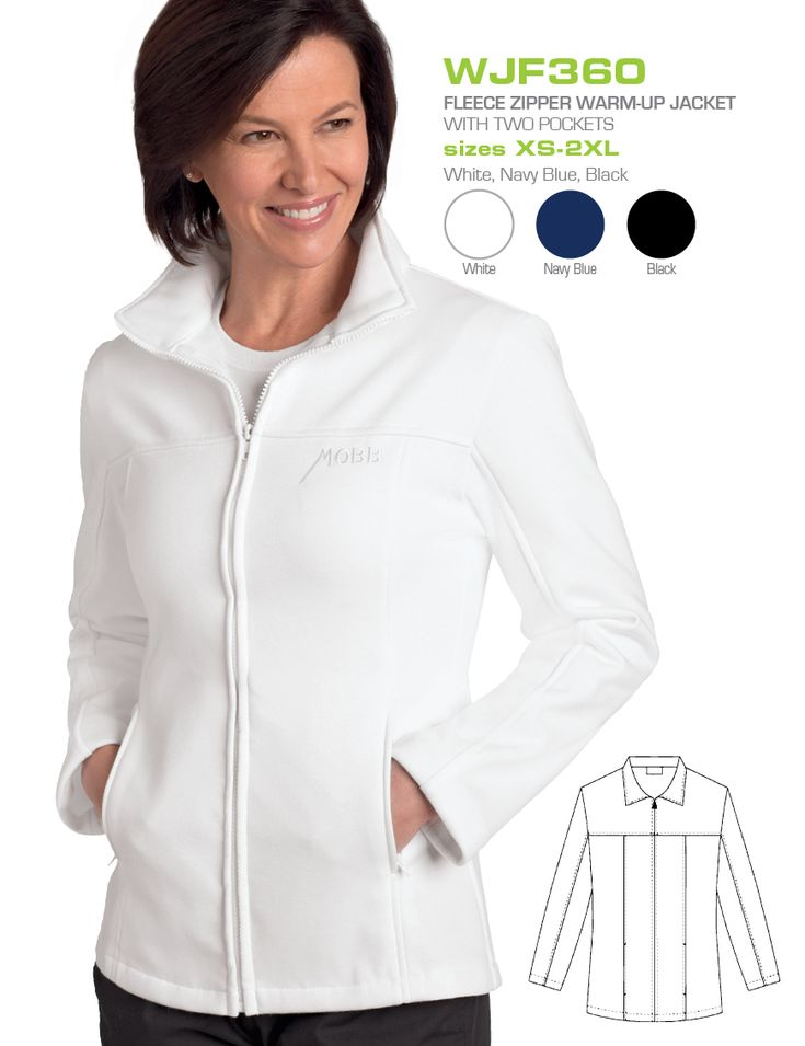 Fleece Zipper Warm-up Jacket :  Tailored to make a statement, look and feel fabulous in this fleece warm-up jacket made just for ladies. Featuring a full zip front closure and two front pockets.  Medical | Lab Coats | Jackets | Doctors | Nurse| Dixie Uniforms Canada