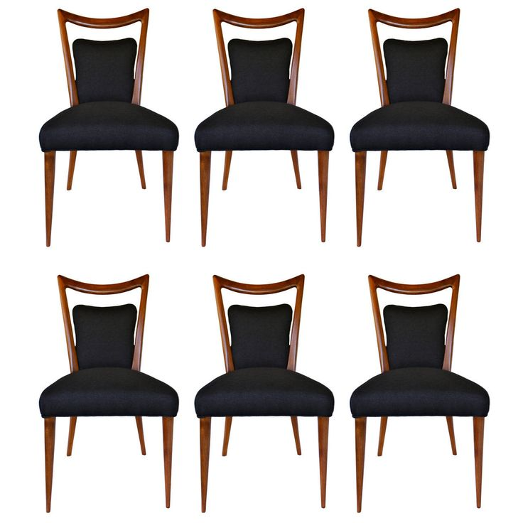 Rare Set of Six Dining Chairs by Melchiorre Bega | From a unique collection of antique and modern dining room chairs at https://www.1stdibs.com/furniture/seating/dining-room-chairs/