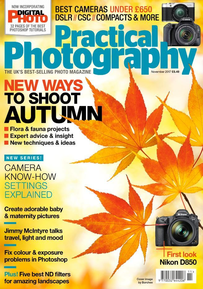 The November issue of Practical Photography is on sale now! Here's a quick peek at what you can find inside…  Free gifts Full version of DxO OpticsPro 11 Essential worth £99, 75 minutes of new camera and editing videos, 32-page Photoshop magazine, camera buying ebook, Photomart catalogue, and much more.  Discover the flora and fauna of autumn Five of the UK's best natural world photographers share the camera skills and fieldcraft needed to capture amazing seasonal images