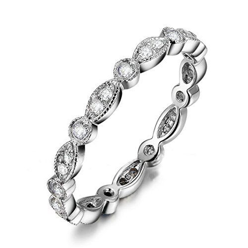 Milgrain Solid 14K White Gold 0.32ctw Round Cut Diamonds Antique Art Deco Full Eternity Band Wedding Ring, http://www.amazon.com/dp/B00F4MBEY0/ref=cm_sw_r_pi_awdm_0tsYvb01TS39V
