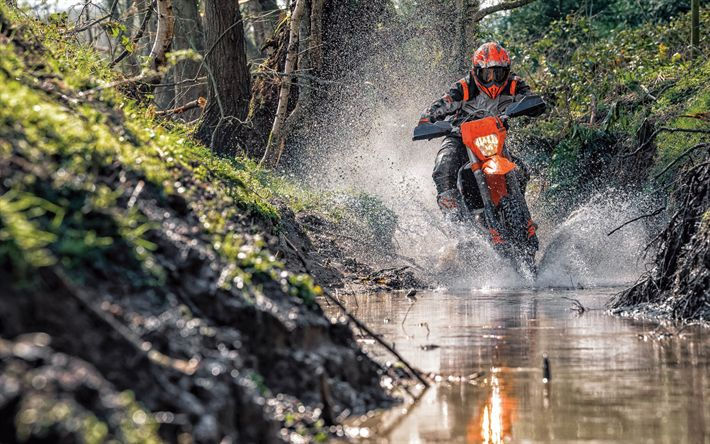 Download wallpapers KTM 450 EXC-F, offroad, 2018 bikes, austrian motorcycles, rider, crossbike, KTM