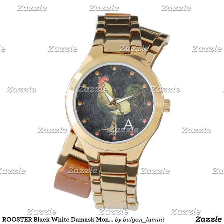 ROOSTER Black White Damask Monogram Wrist Watches #fashion #roosters #farm #animalfarm #rustic #animals #birds #watches