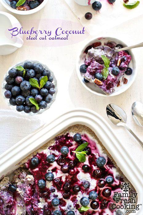 Blueberry Coconut Baked Steel Cut Oatmeal Recipe | FamilyFreshCooking.com  | #breakfast #health #fruit #diet #vegan #glutenfree