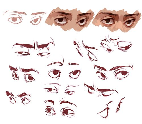 great sketches of eyes and how they're shape changes from different angles
