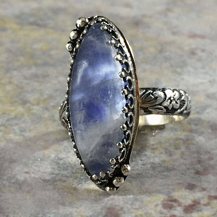 Blue Moonstone ring. Marquise moonstone in vintage pattern boho setting. Sterling silver ring. Blue rainbow moonstone ring. Gift for Mom. by NimbleWitchCreative on Etsy