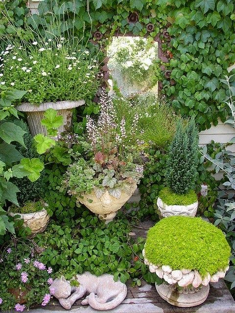 Create small gardens in unusual place around the yard