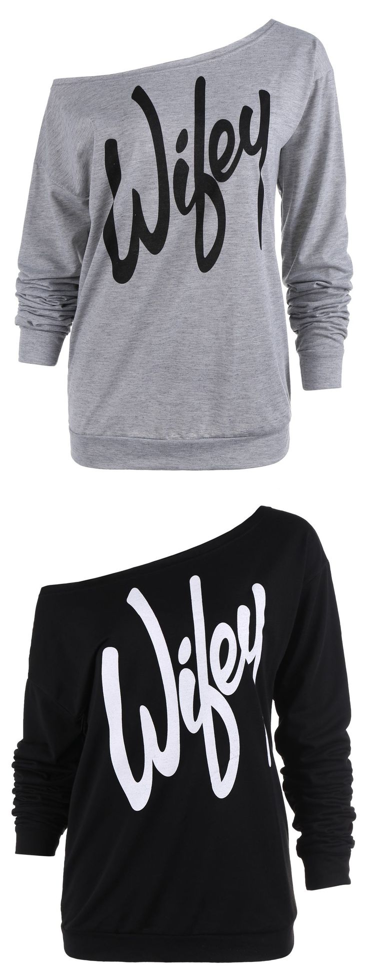 Only $7.97! Sexy Letter Print Slash Neck Pullover Sweatshirt    For Teens   Hoodie  Backtoschool   Casual