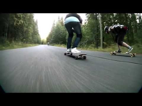 Longboarding on Bad Creek Road, Kuopio, Finland.