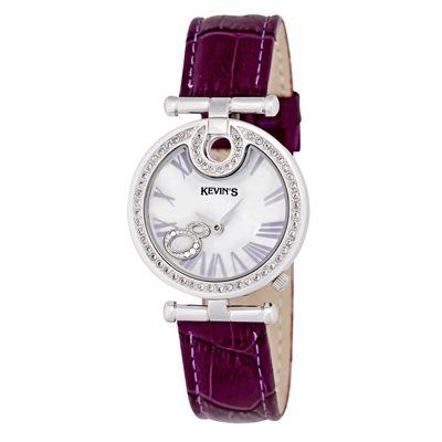 Reloj para Dama, tablero redondo, madreperla, romanos, analogo, pulso cuero morado