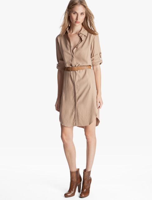 What a classic!  Silk shirt dress from Halston Heritage.