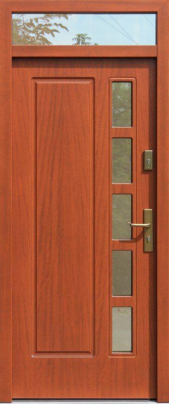 Drzwi z naświetlem górnym z szybą wzór 541s5 w kolorze ciemny dąb.