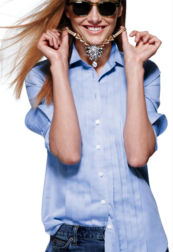 J.Crew Crystal chevron-link necklace. The necklace is a bit much, but I'm digging the shirt!