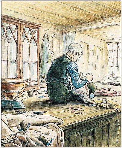 "From ""The Tailor of Gloucester"" by Beatrix Potter, 1903 - 'The Tailor seated in the window of his shop'"