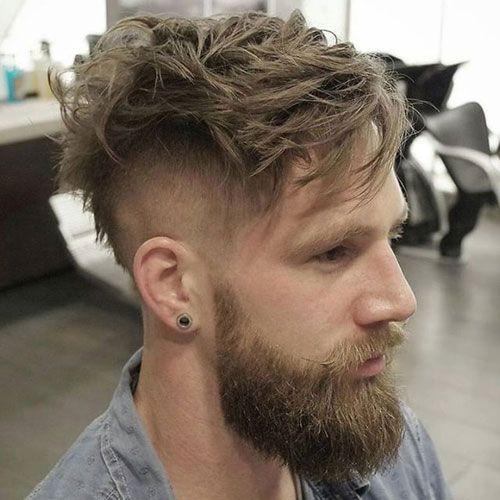 Messy Medium Length Hair + High Skin Fade + Full Beard