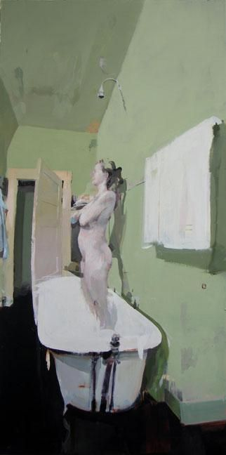 Alex Kanevsky, Green Bathroom  48 x 36, oil on wood