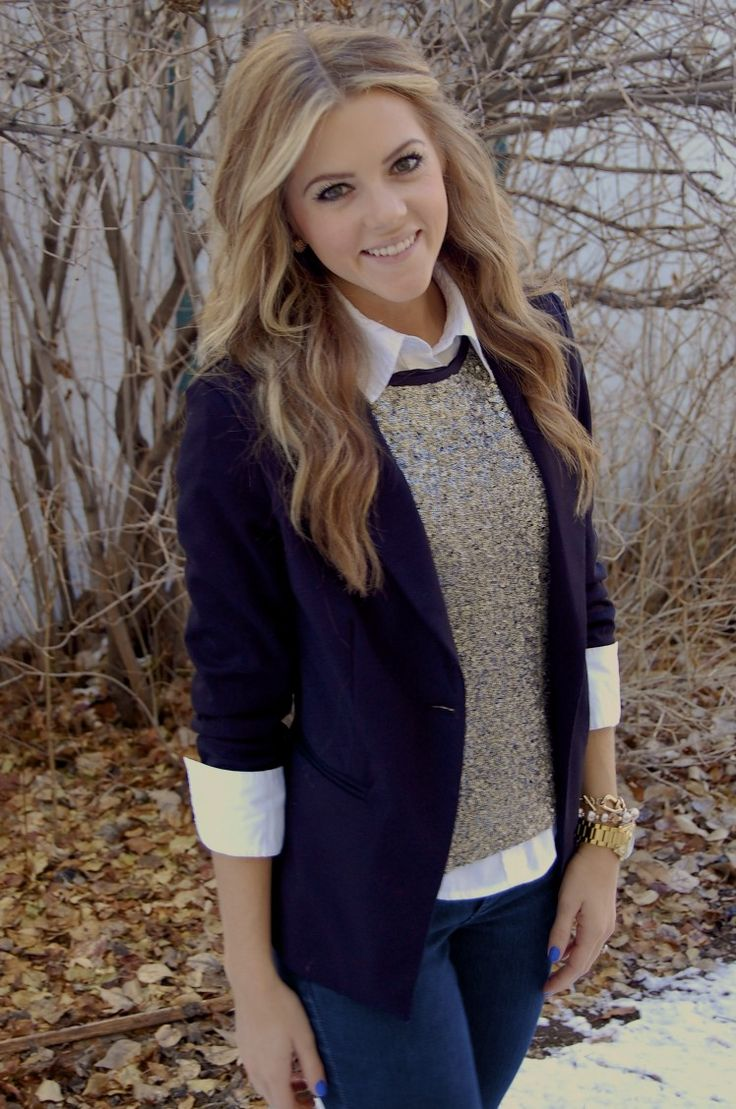Fall Layers - white oxford, sweater, and navy blazer