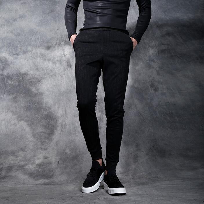2017 autumn winter male elastic pants mens beam push-up personality slim skinny pants mens health pants personalized black