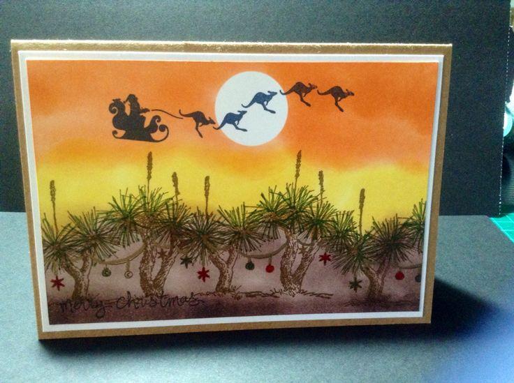 Aussie Christmas , Grass tree Christmas and Kangaroo sleigh by stamp it