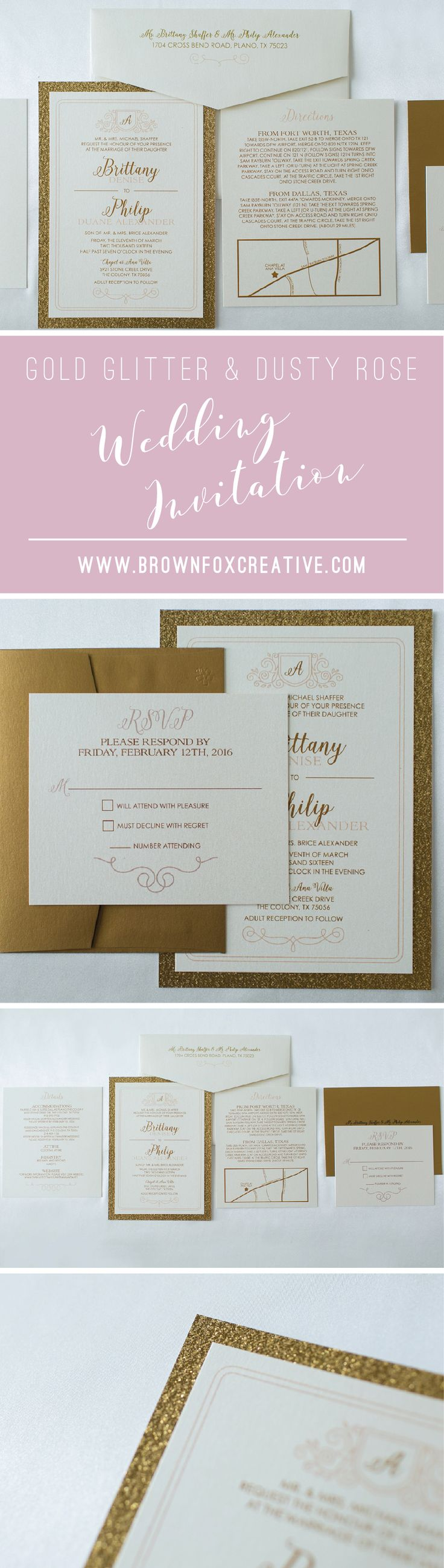 Two Layer Gold Glitter and Blush Rose Pink Formal Elegant Wedding Invitation, RSVP & Directions with Map - Multiple Color Options Available!