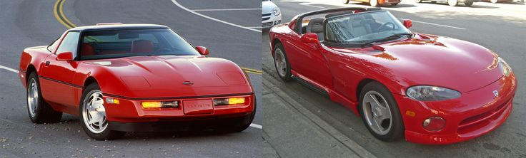 """Round four: 1993 Corvette ZR1 vs. 1993 Dodge Viper. For the first time ever, the Corvette sported a DOHC V8 in the familiar 5.7 litre displacement & it quickly earned the nickname """"King of the Hill"""". The Viper's massive 8.0-litre V10 made 400 horsepower at just 4,500 rpm. Tho it didn't have side windows or exterior door handles, it was way more fun for less money. Cost when new: Viper $50,700 
