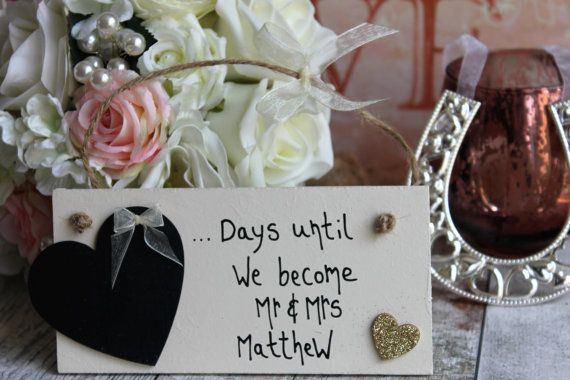 Wedding Countdown Gold – Wedding Countdown Plaque – Wedding Countdown-Wedding Countdown Board -Wedding Countdown Sign -Days Until I Do Sign – Engagement & Bridal