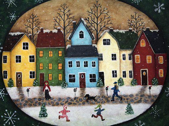 Winter Folk Art Hand Painted Primitive Wooden di RavensBendFolkArt