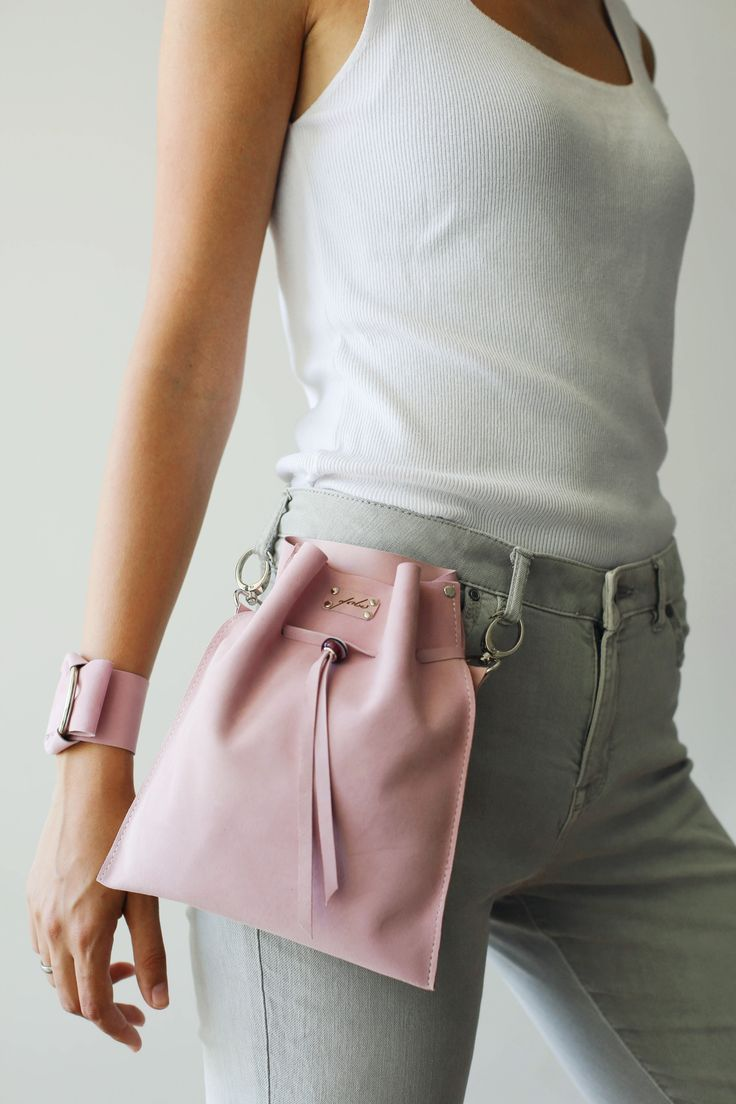 Pink Fanny Pack, Leather Waist Bag, Pink Waist Bag