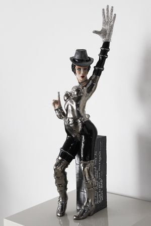 Midge Johansen   Who's Bad! - 2014   Ceramic sculpture, glazed with 22ct platinum, silver studs and jewelled additions   75cm high