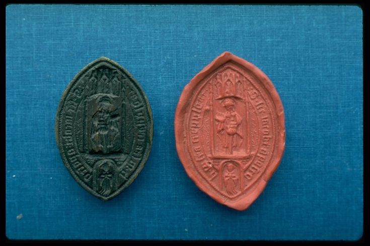 Seal matrix Seal matrix from the religious house of St James Cripplegate. It is vesica-shaped (pointed oval) with a pierced lug on the back. The seal matrix is engraved with the design of St James standing under a canopy. Around the edge is an inscription in black letter: 'S.sce.jacobi:apostoli.infra,crepulgat'. Sealed documents underlined the power and authority of the church. Every religious house had a unique seal for authenticating documents.  Production Date: Late Medieval; 15th century