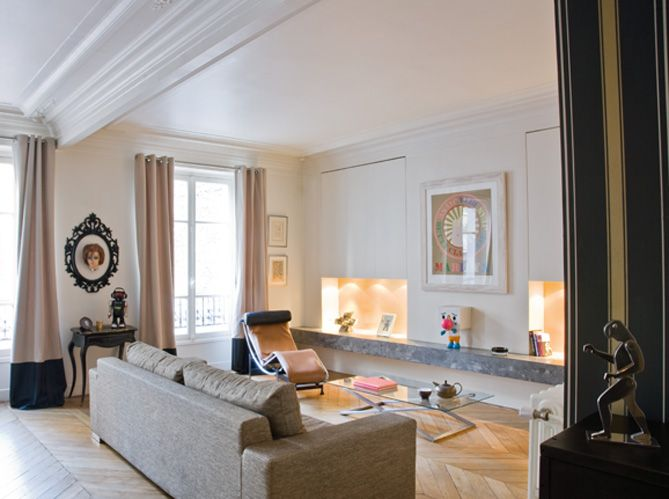 Salon appartement haussmanien / Living-room in Paris