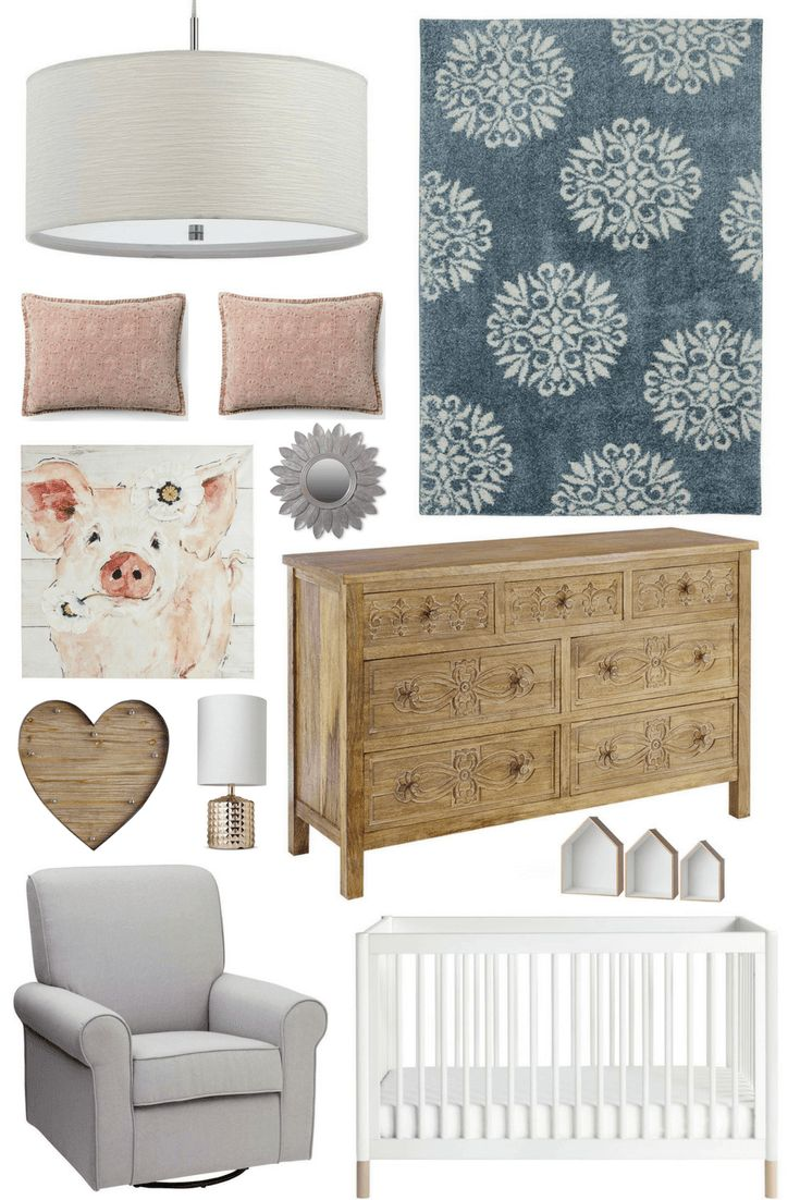 Nursery Inspiration: Blue & Pastel Pink, Natural Wood Dresser, Nursery Grey Glider, Nursery Pig Art, Nursery Blue Rug