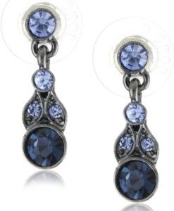 1928-Jewelry-Simplicity-Hematite-Color-and-Sapphire-Color-Drop-Earrings-0