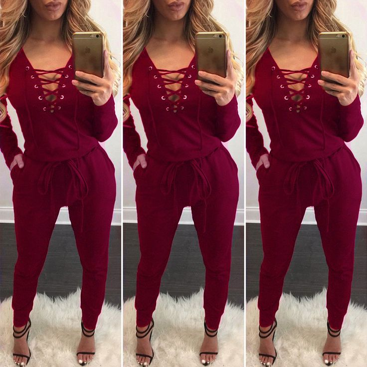 Long Sleeve Lace Up Deep V-neck Draw String Waist Long Jumpsuit