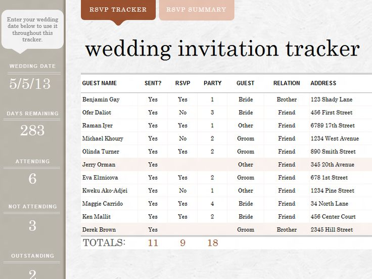 wedding invite tracker templates officecom some day With wedding invitation tracker template