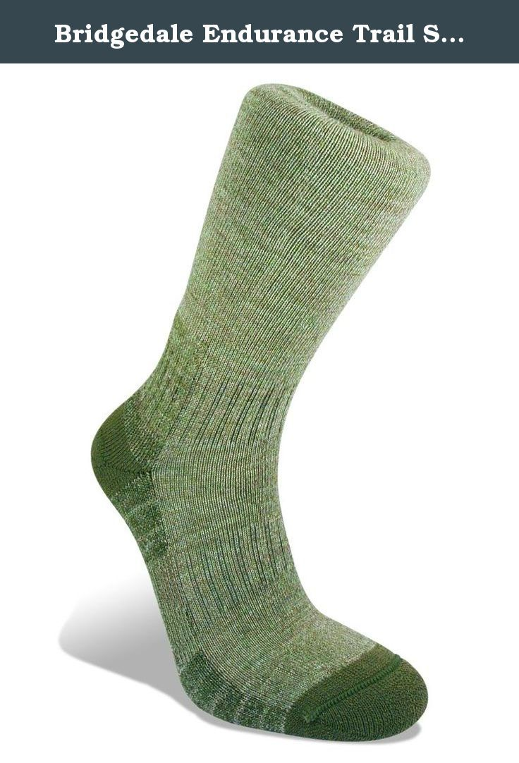 Bridgedale Endurance Trail Socks,Olive,Large. Our best selling lightweight hiking sock perfect for the day hiker or outdoor enthusiast. Great multi-function style with over foot breathability and soft cushioning underfoot.